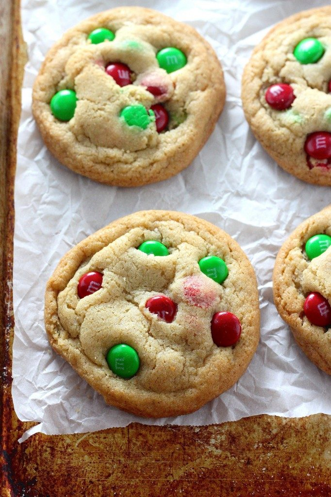Soft baked and delightfully chewy brown butter cookies are loaded with crunchy chocolate m&m's. Use the classic colors, or get festive and use the red and green holiday variety - both ways are equally delicious.