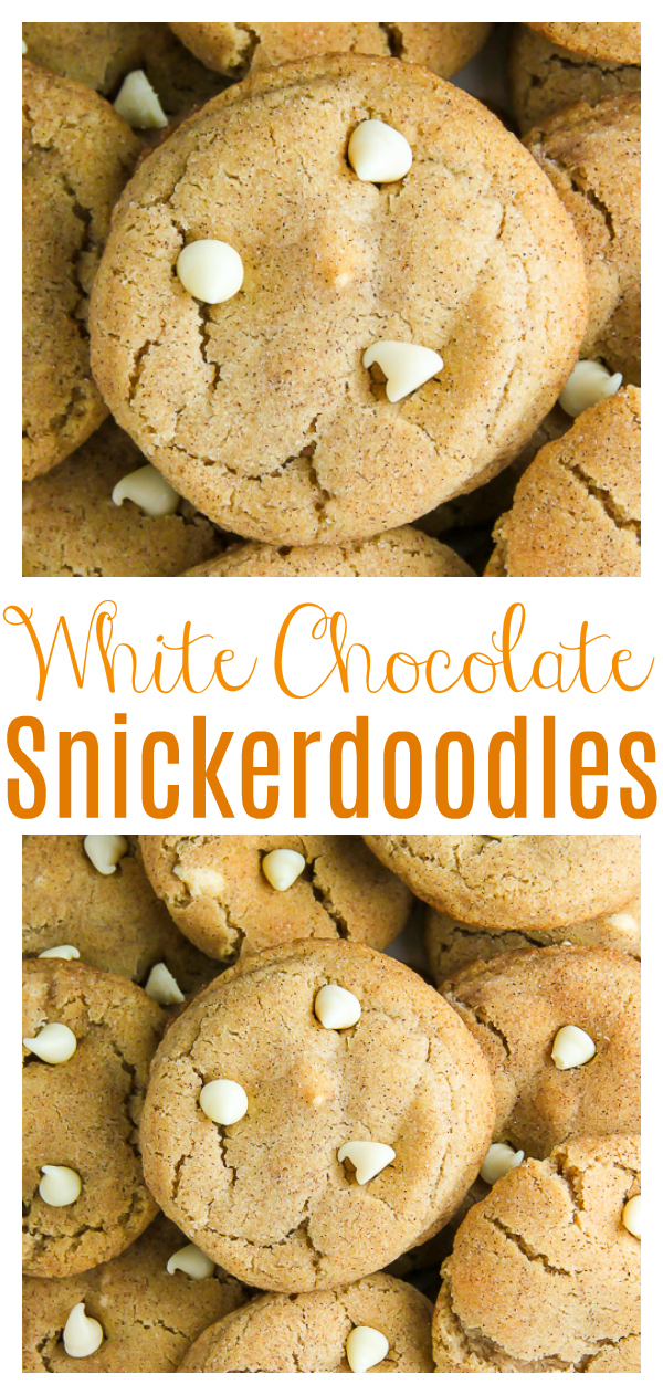 If you love white chocolate chips and snickerdoodles, these cookies are for you!!! So soft, chewy, and loaded with holiday flavor! The perfect snickerdoodle cookie for your holiday cookie platters!