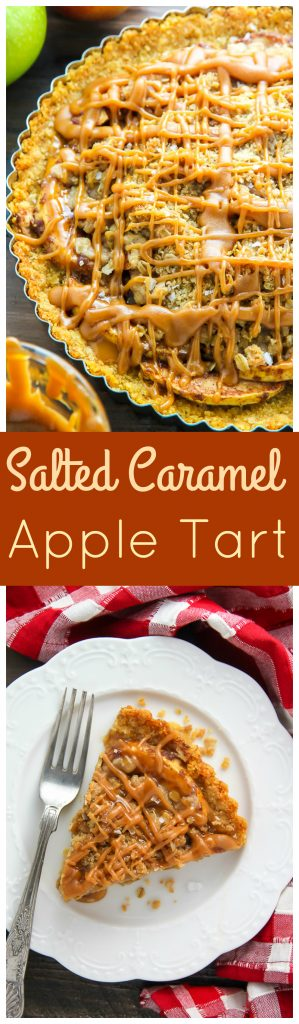 The BEST Salted Caramel Apple Tart! Click though for the delicious recipe.