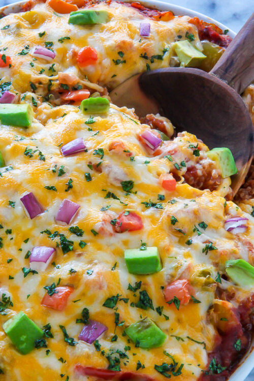 This easy, cheesy veggie fajita casserole is ready in just 45 minutes!