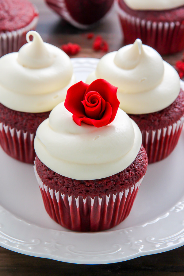 Supremely moist red velvet cupcakes topped with luscious cream cheese ...