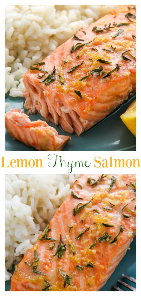 Healthy, hearty, and loaded with flavor, this simple Lemon, Garlic, and Thyme Baked Salmon is lip smackin' good. An easy seafood recipe the whole family will love!