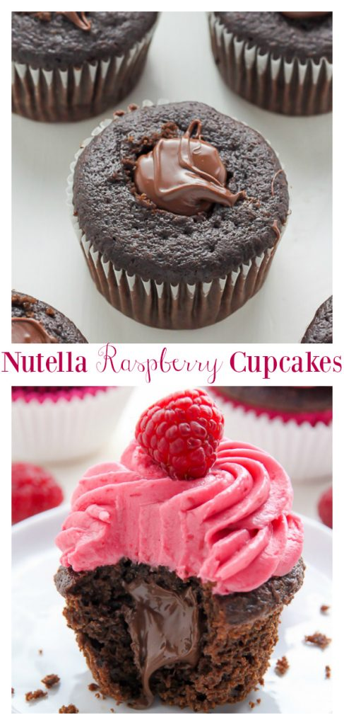 Decadent chocolate cupcakes stuffed with creamy nutella and topped with fresh raspberry frosting. And yes, they're just as delicious as they look.