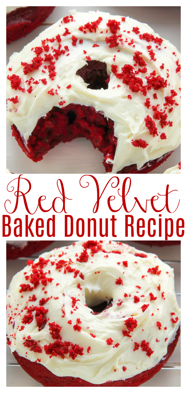 Red velvet donuts topped with cream cheese frosting! Baked, not fried, they're super moist and fluffy! Perfect for Christmas morning and ready in just 20 minutes!