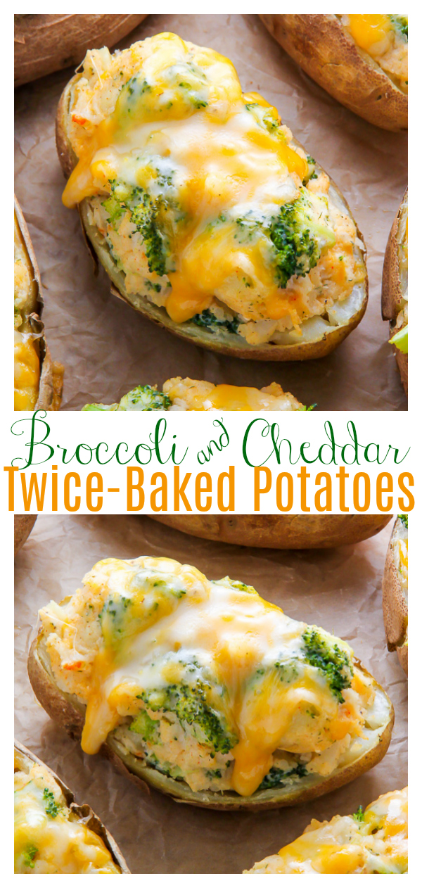 An easy and delicious recipe for Broccoli and Cheddar Twice-Baked Potatoes! These super easy potatoes are loaded with shredded cheese and broccoli! Such a delicious and simple side-dish!
