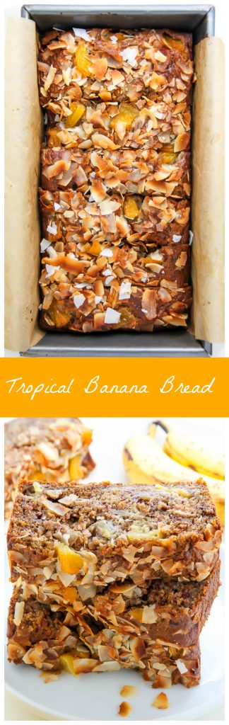 Sweet and fruity, this supremely moist banana bread is bursting with tropical flavors.