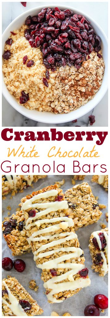 White Chocolate Cranberry Macadamia Nut Granola Bars - Baker by Nature