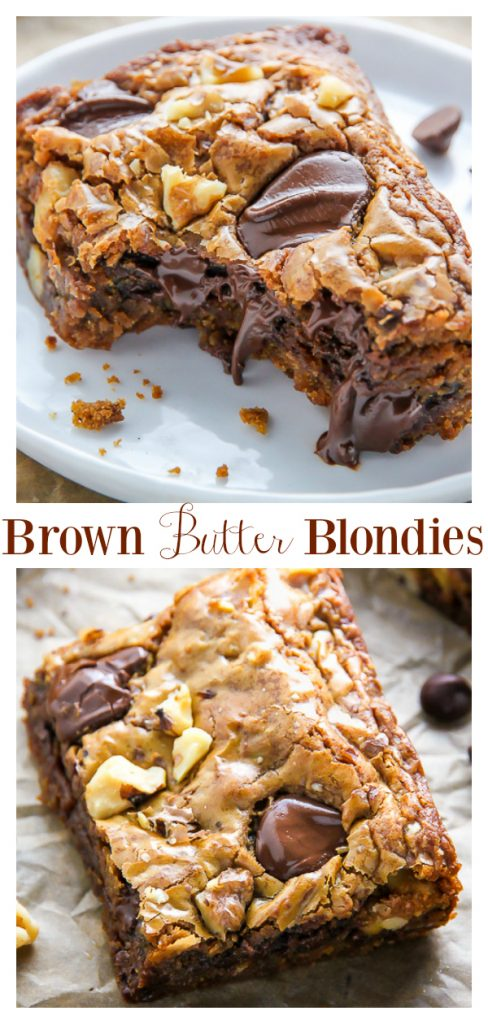 Ultra thick and chewy brown butter blondies loaded with toasted walnuts and plenty of chocolate chips! They're practically begging to be served with a cold glass of milk. You can also use chocolate chunks ;)