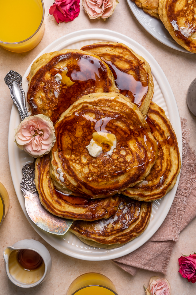 My Favorite Buttermilk pancakes are thick, fluffy, and made totally from scratch! A super easy pancake recipe that's also freezer friendly. The perfect breakfast to please the whole family!