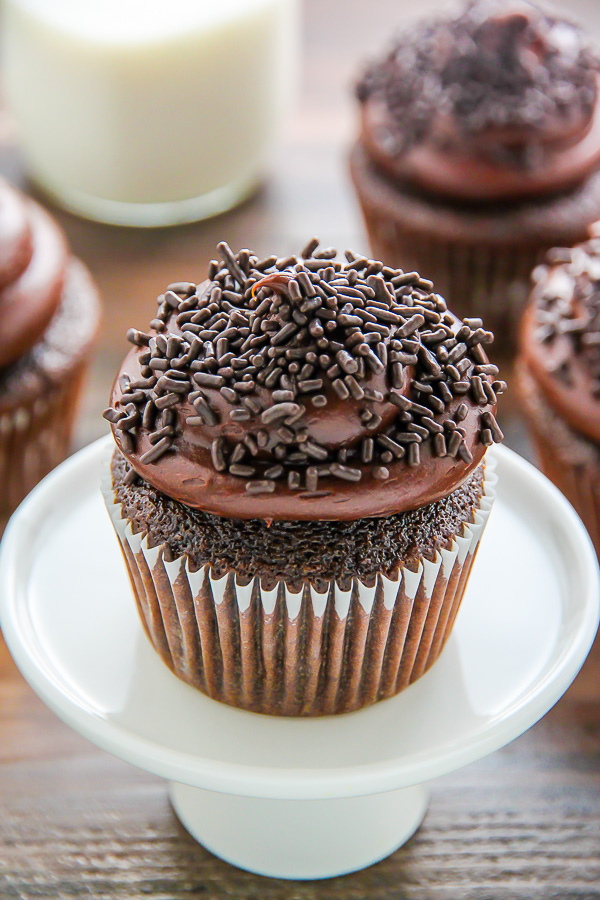 Old-fashioned chocolate buttermilk cupcakes topped with a generous ...