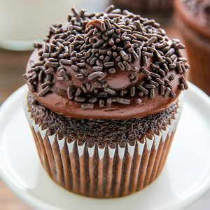 Old-fashioned chocolate buttermilk cupcakes topped with a generous swirl of homemade chocolate frosting. A timeless classic!