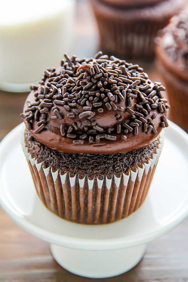 Old Fashioned Chocolate Buttermilk Cupcakes Topped With A Generous Swirl Of Homemade Chocolate Frosting