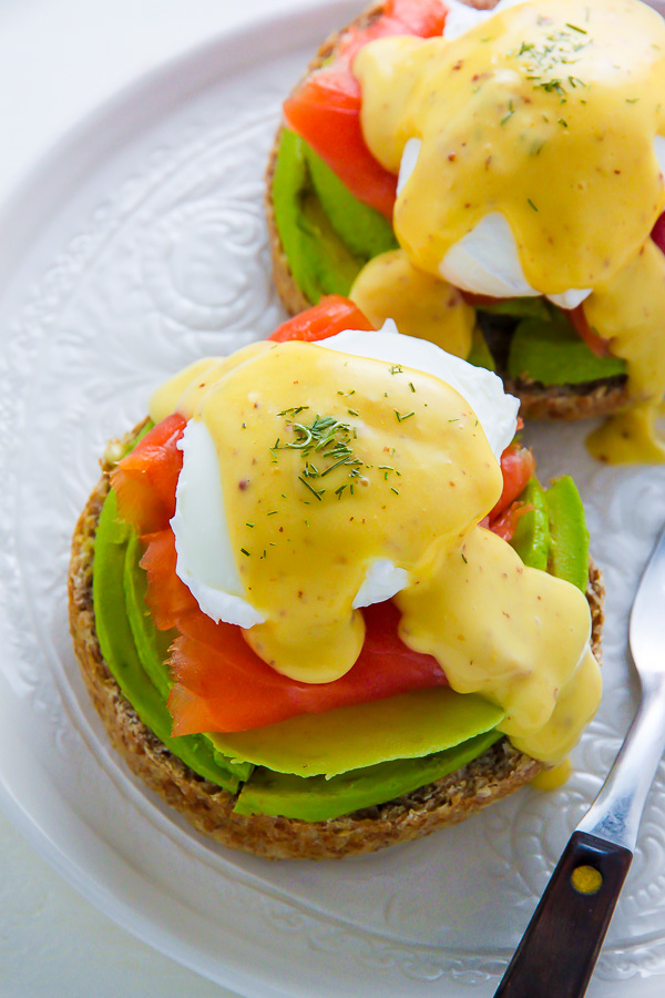 Smoked Salmon Benedict with Avocado and Dill.