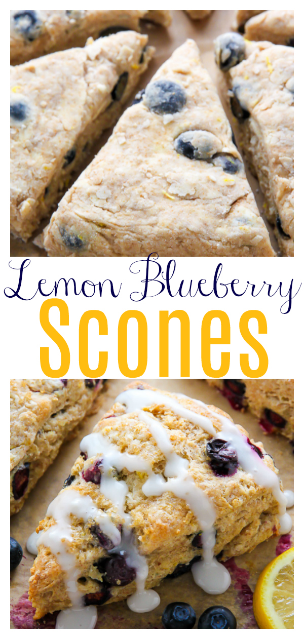 These lightened up Greek yogurt Lemon Blueberry Scones are topped with a sweet lemon glaze. Simply irresistible!