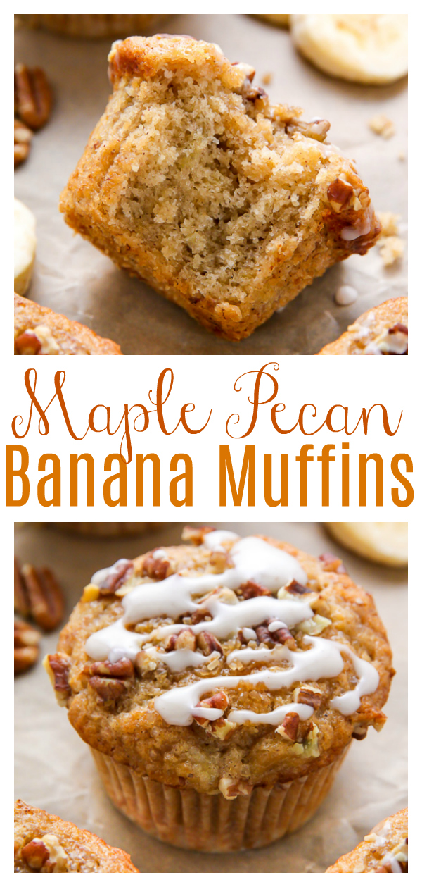 There's nothing like biting into one of these freshly baked maple pecan banana muffins! Easy, simple, homemade goodness in less than 30 minutes. These maple pecan muffins are a hit with the whole family!