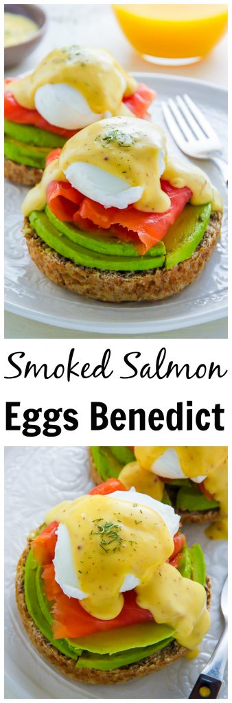 Smoked Salmon and Avocado Eggs Benedict on serving plate.