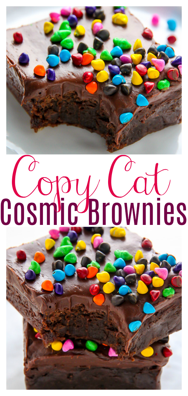 Super fudgy homemade brownies topped with decadent chocolate frosting and rainbow chocolate chips! These are basically copycat cosmic brownies... but so much better! Indulge your inner child with a batch today!