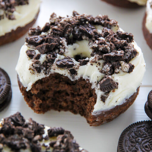 Oreo Cookies and Cream Donuts are baked, not fried, and ready in just 20 minutes!