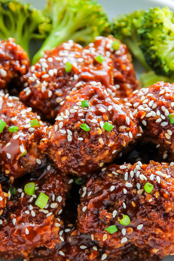 Crispy, saucy, and supremely flavorful Sesame chicken! Oven baked and ready in less than an hour.