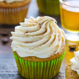 Supremely moist Irish coffee cupcakes topped with boozy buttercream! This one is for adults only!