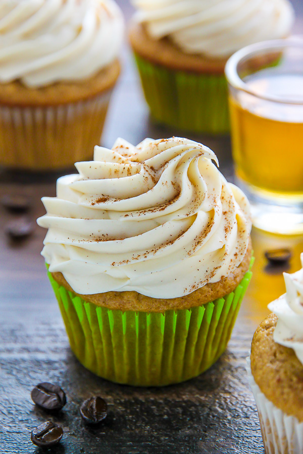 Supremely moist Irish coffee cupcakes topped with boozy buttercream ...
