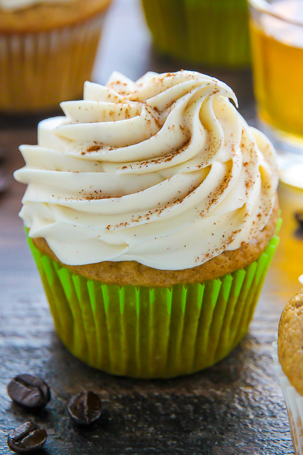 Supremely moist Irish coffee cupcakes topped with boozy buttercream! This one is for adults only