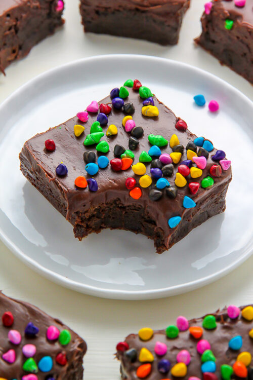 Super fudgy homemade brownies topped with decadent chocolate frosting!