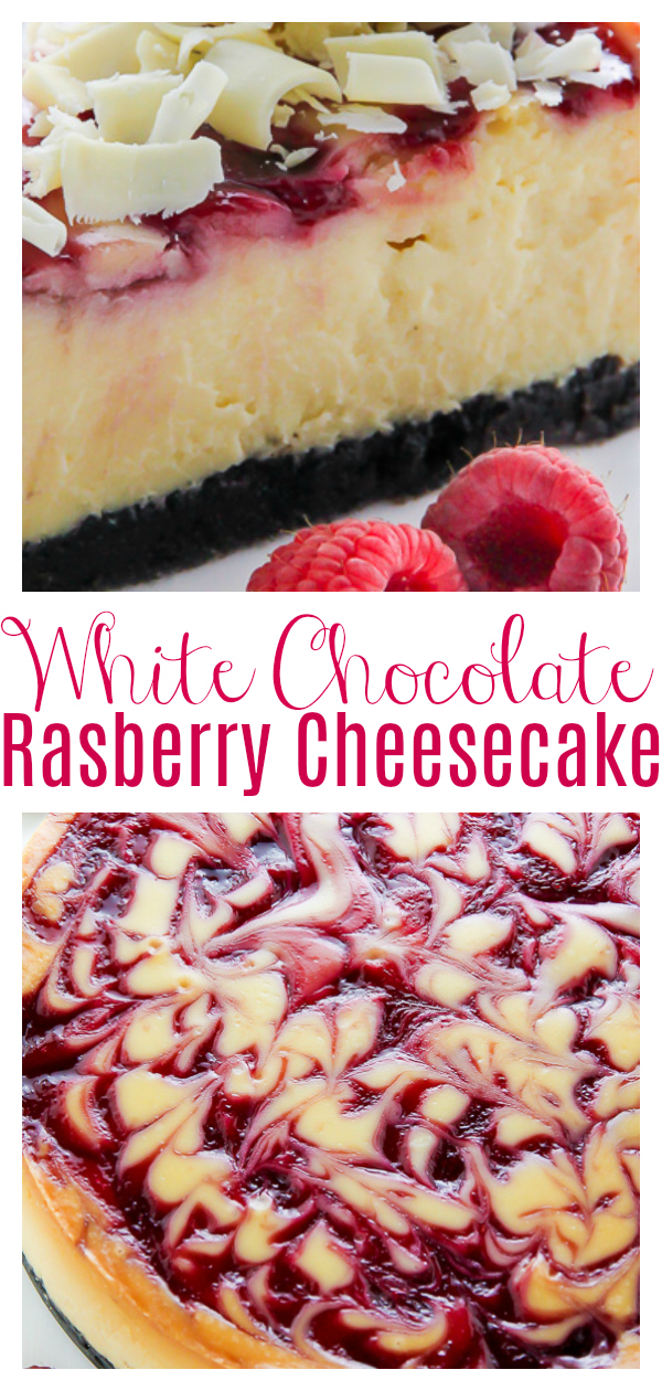 Creamy White Chocolate Raspberry Cheesecake, complete with a homemade chocolate cookie crust and fresh whipped cream. This one is a showstopper!