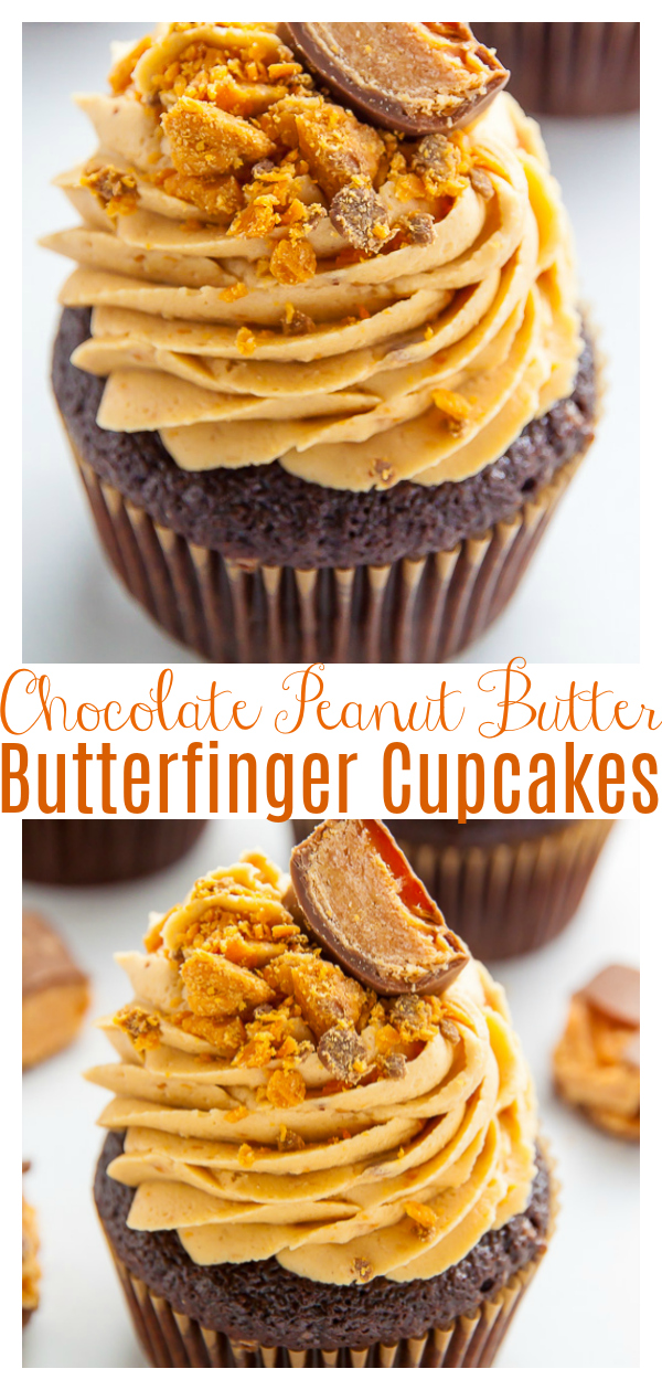 An easy and amazing recipe for Butterfinger Chocolate Cupcakes! Imagine moist chocolate butterfinger cupcakes topped with creamy peanut butter butterfinger frosting and you'll know what these taste like! Add crunchy butterfinger bits on top for a fun presentation!