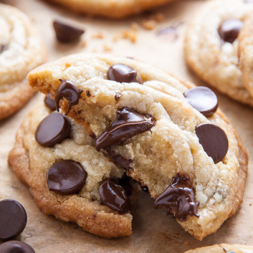 Coconut Oil Chocolate Chip Cookies with soft centers and crispy edges! The best part? No cookie dough chilling required! Just roll and bake.