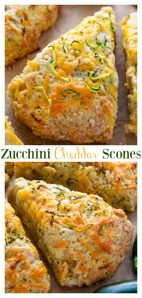 My favorite savory scones are loaded with sharp cheddar cheese and fresh zucchini! Who knew veggies could taste this good!? If you have leftover zucchini, try these zucchini cheddar scones!