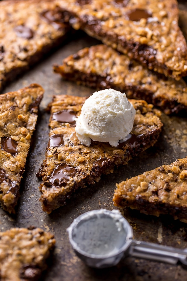 These thick and chewy brown butter espresso toffee blondies loaded with toffee are made in one bowl! So easy and SO delicious!