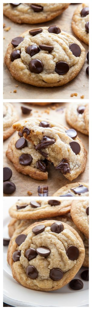 Coconut Oil Chocolate Chip Cookies with soft, chewy centers and crispy edges! The best part? No cookie dough chilling required; just roll and bake! This recipe is a keeper