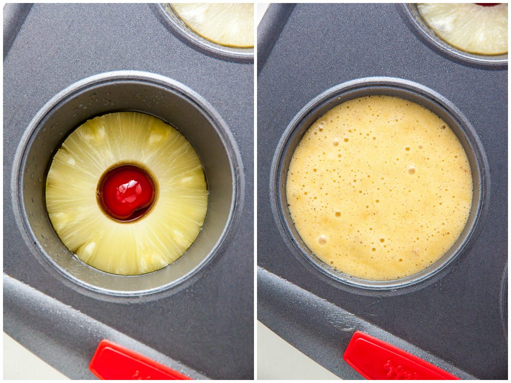 Mini Pineapple Upside-Down Cake Pan with batter.