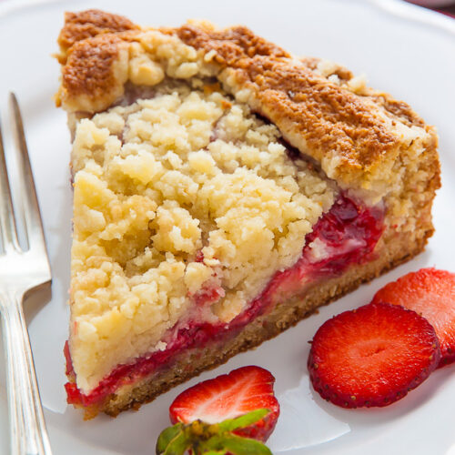 Moist and buttery strawberry crumb cake topped with sweet vanilla glaze!