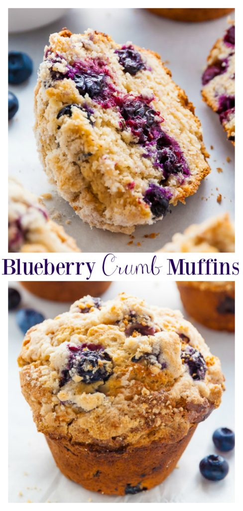 These Jumbo Blueberry Crumb Muffins are moist, fluffy, and taste even better than the ones from the bakery! Loaded with blueberries and topped with tons of buttery crumbs, these muffins are always a crowd-pleaser! Perfect for breakfast or as an after-school snack!