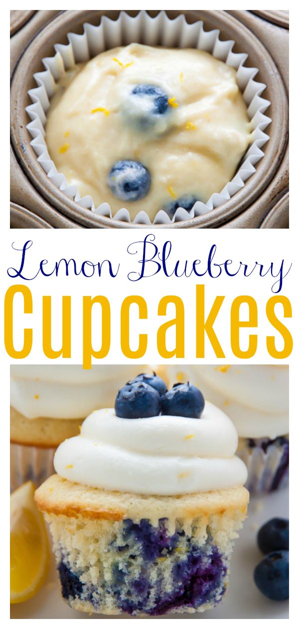 Homemade Lemon Blueberry Cupcakes are topped with luscious Lemon Cream Cheese Frosting and Fresh Blueberries! The moist lemon cupcakes are so flavorful and bursting with juicy blueberries. This recipe is such a crowd-pleaser and perfect for Summer birthday parties, picnics, or barbecues!