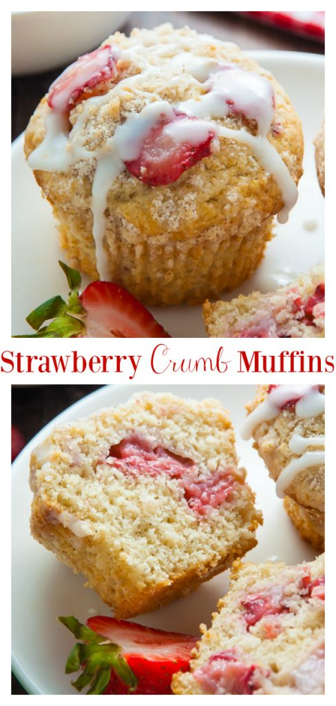Sweet and supremely moist Strawberry Crumb Muffins! They're perfect for breakfast or as an after-school snack! Topped with buttery crumbs and sweet vanilla glaze, these muffins are irresistible!