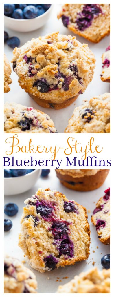 These JUMBO Blueberry Crumb Muffins are moist, fluffy, and taste even better than the ones from the bakery! Loaded with blueberries and topped with tons of buttery crumbs, these jumbo blueberry muffins with streusel topping make the perfect breakfast or after-school snack!
