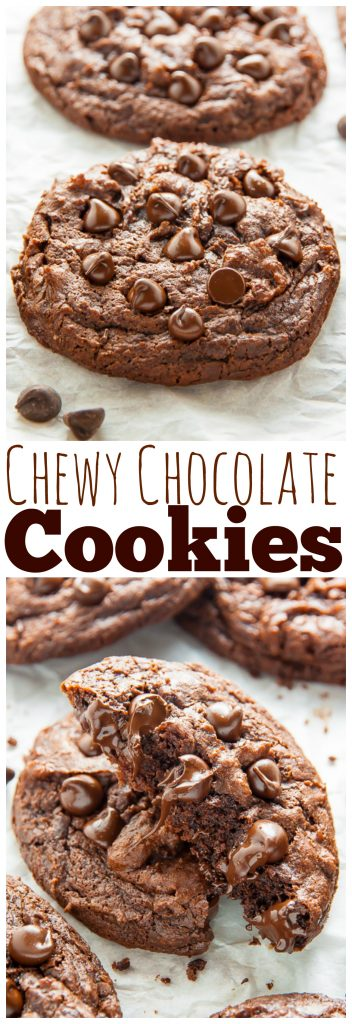 Extra Chewy Chocolate Fudge Cookies! Rich, chocolatey, vegan goodness.