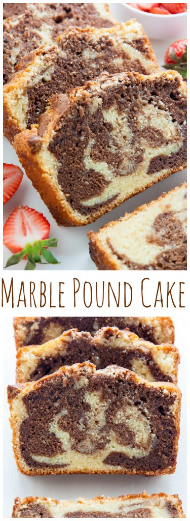 Supremely Moist Marble Pound Cake topped with juicy strawberries! This one's a keeper.