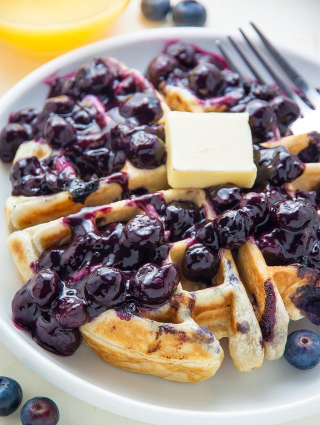 Greek Yogurt Blueberry Waffles with Fresh Blueberry Sauce ...