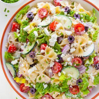 Greek Pasta Salad in serving bowl.