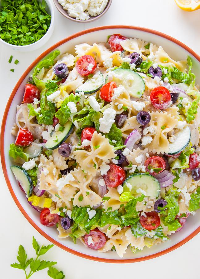 Greek Pasta Salad in bowl.