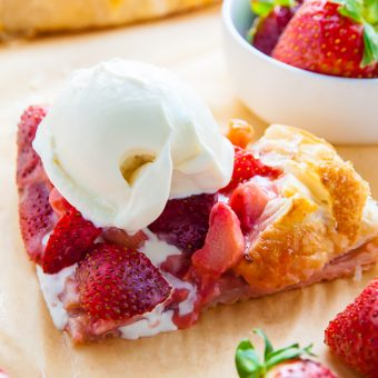 Super Easy Strawberry Rhubarb Galette