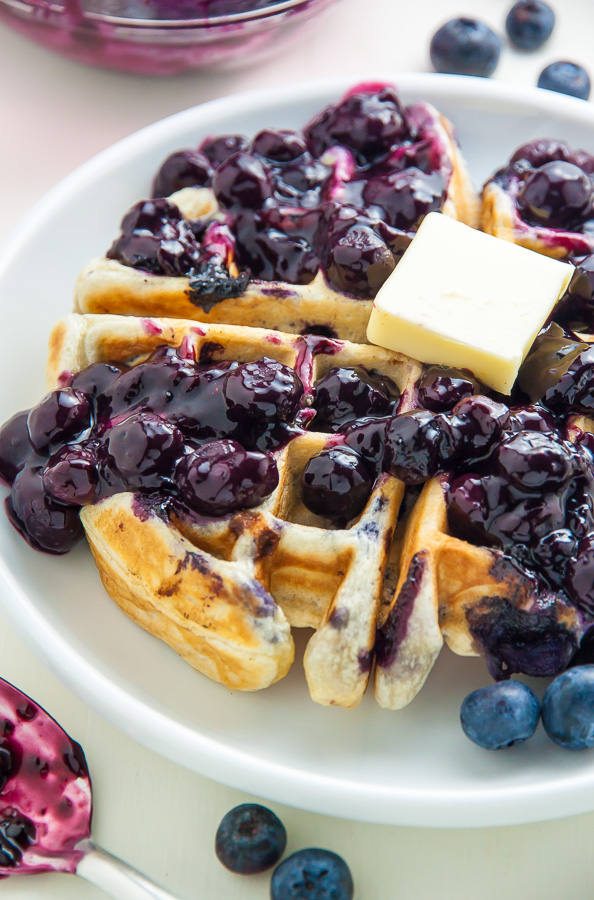 Greek Yogurt Blueberry Waffles with Fresh Blueberry Sauce - Baker by ...