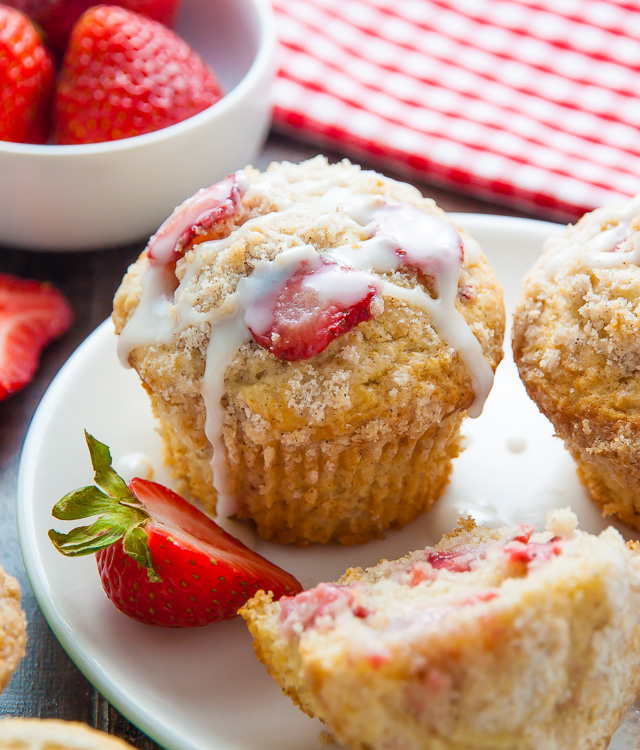 Sweet and supremely moist Strawberry Crumb Muffins! A summertime favorite.