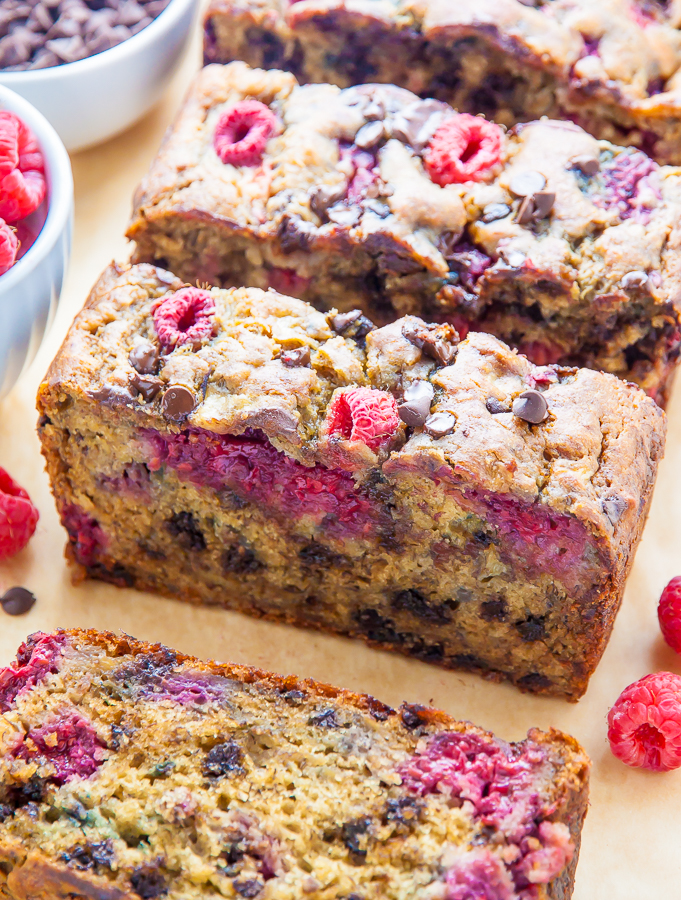 Supremely moist Banana Bread studded with fresh raspberries and chocolate chips. Bonus: It's healthy!