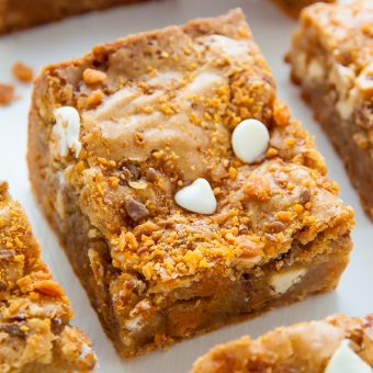 White Chocolate Butterfinger Blondies