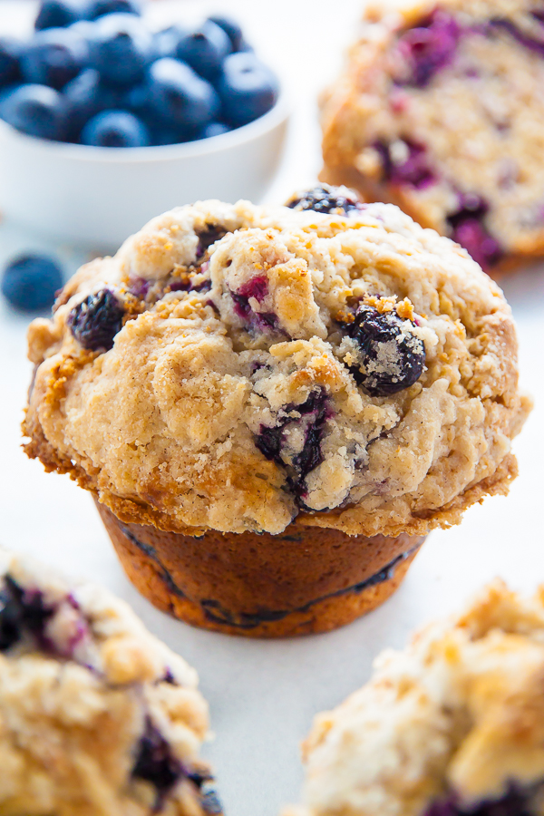 Moist and fluffy, my homemade JUMBO Blueberry Crumb Muffins are even better than the ones from the bakery!